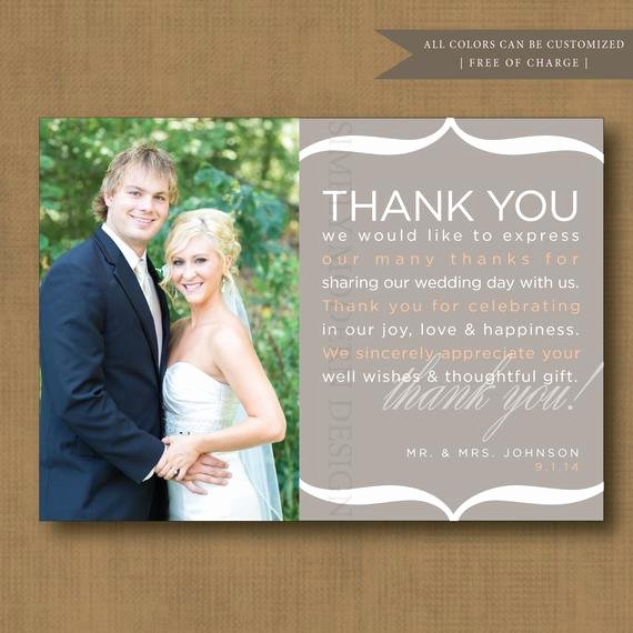 Wedding Thank You Card Template Luxury Thank You Note Wedding Thank You Card by Simplymoderndesignx