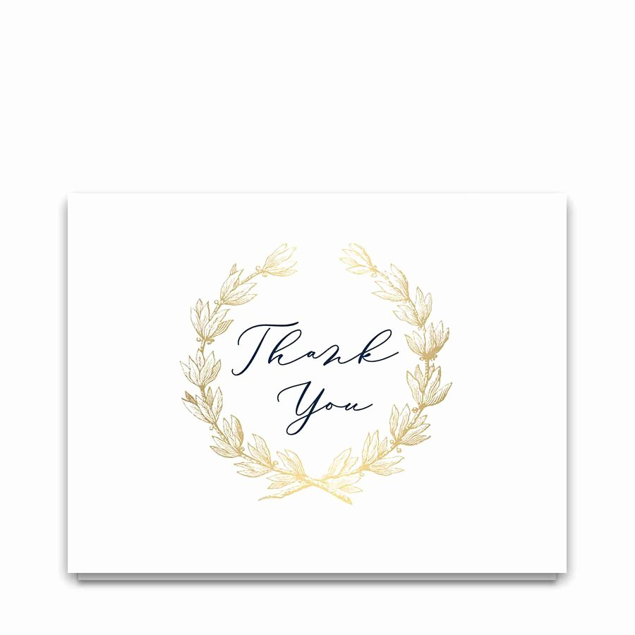 Wedding Thank You Card Template Unique Wedding Thank You Card Template Navy Gold Greenery Wreath