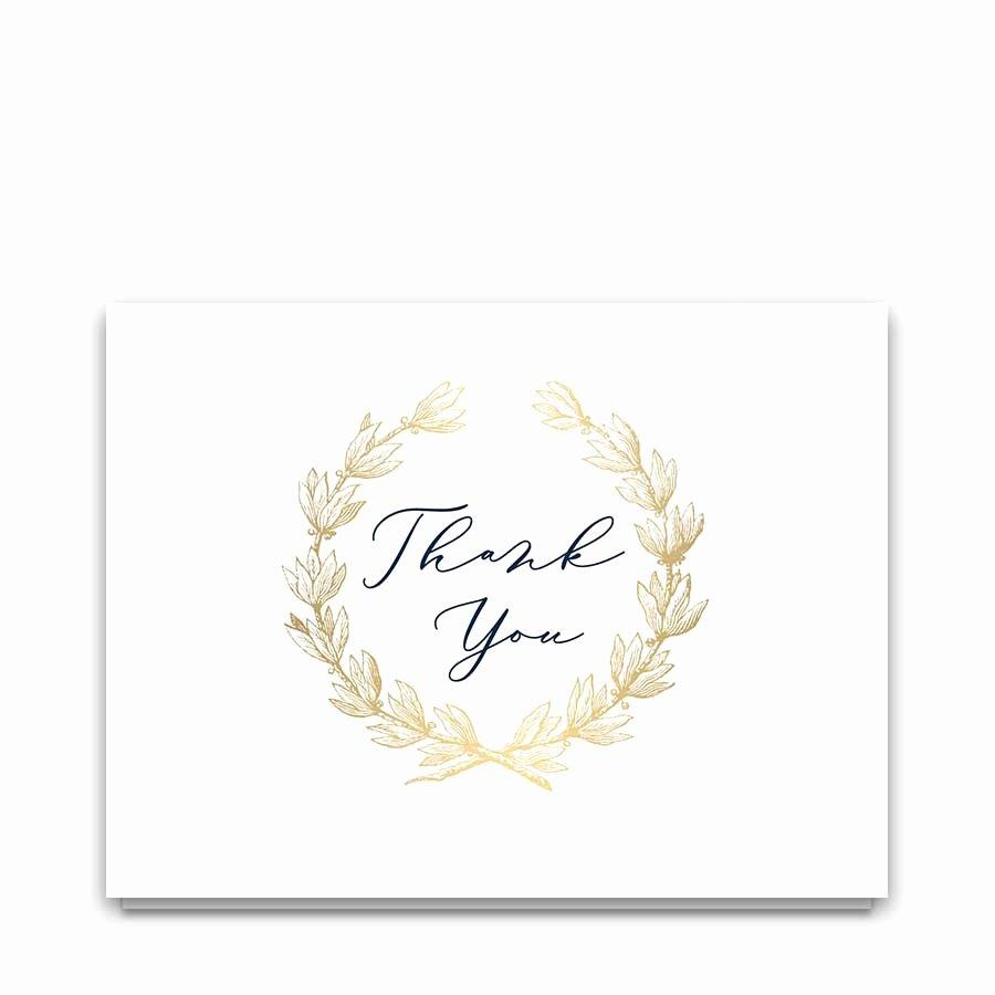 Wedding Thank You Card Template Unique Wedding Thank You Card Template Navy Gold Greenery Wreath