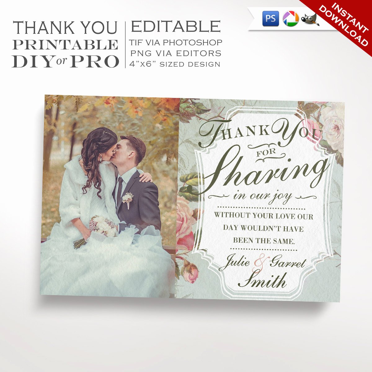 Wedding Thank You Note Template Awesome Printable Diy French Country Wedding Thank You Template