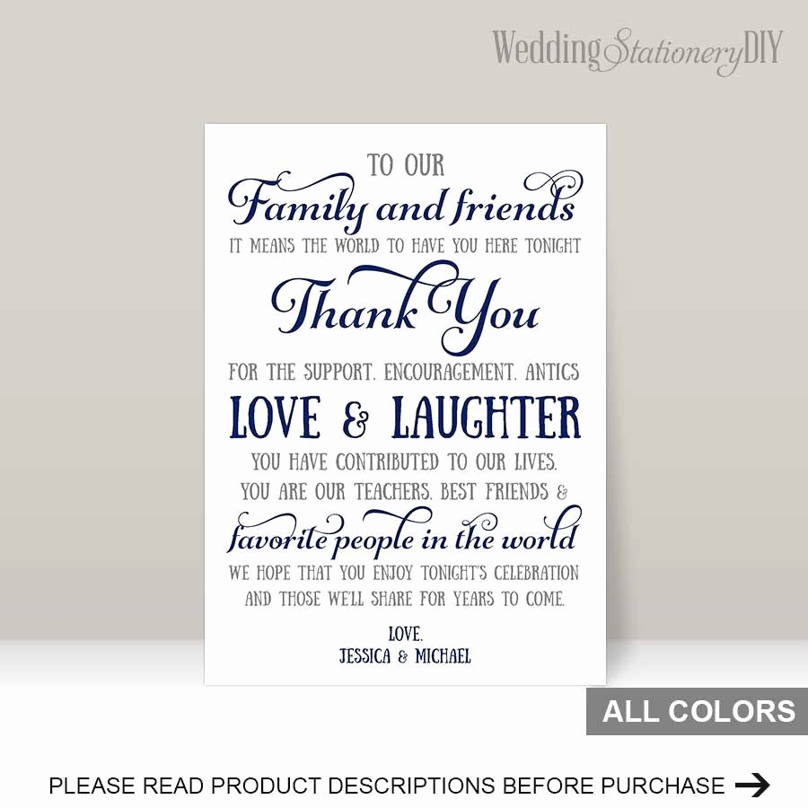 Wedding Thank You Note Template Best Of Navy Wedding Reception Thank You Card Templates