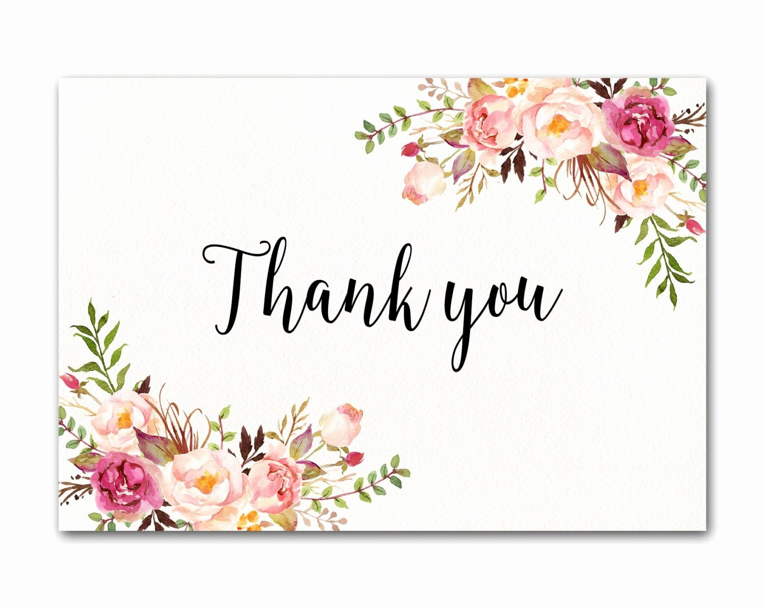 Wedding Thank You Note Template Elegant Ivory Thank You Card Floral Thank You Card Wedding Thank You