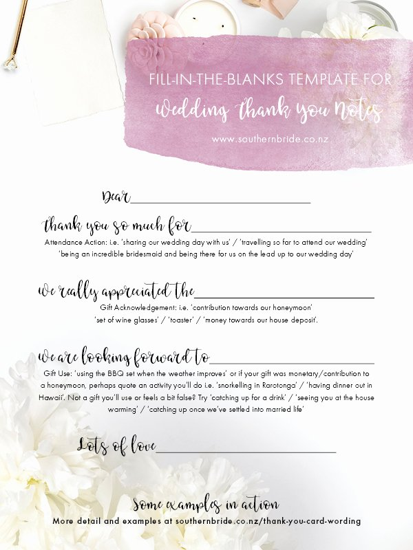Wedding Thank You Note Template Fresh 7 Thank You Card Wording Ideas A Template to Make