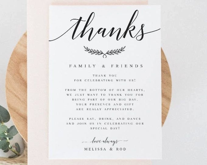 Wedding Thank You Note Template Fresh Elegant Modern Wedding Thank You Letter Template Laurel