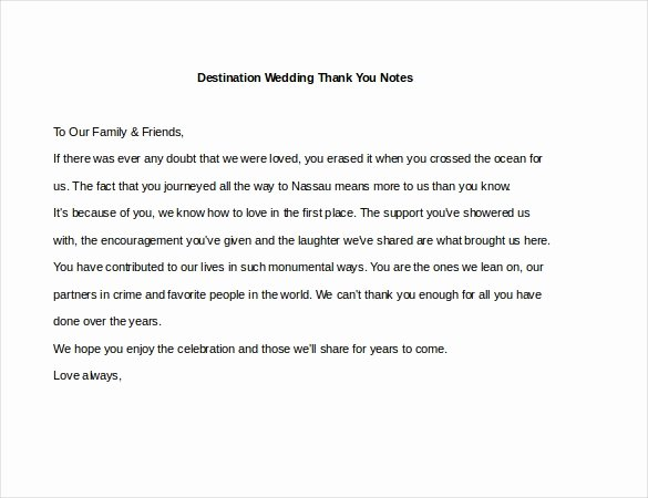Wedding Thank You Note Template Inspirational 6 Wedding Thank You Notes – Free Sample Example format