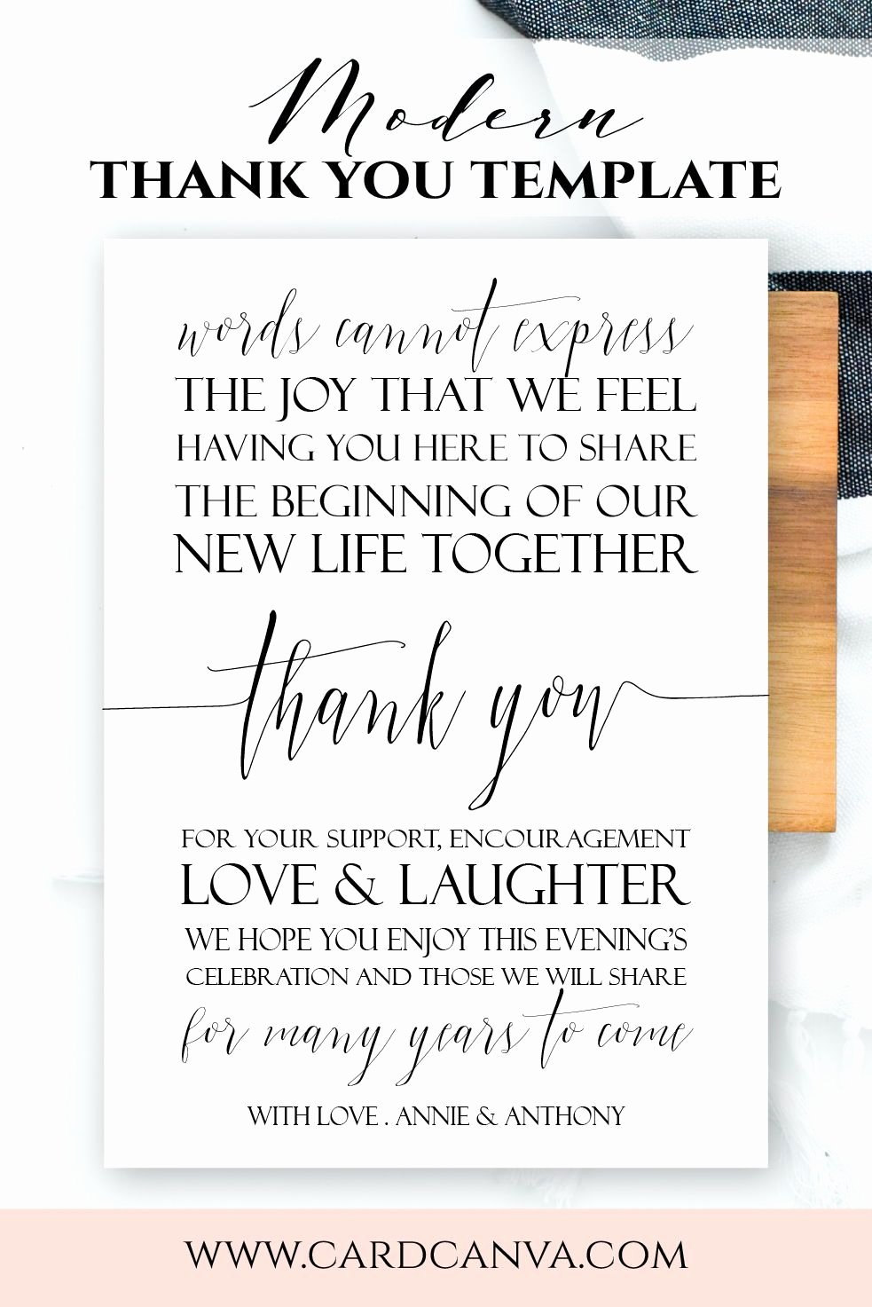 Wedding Thank You Note Template Inspirational Modern Wel E Letter Modern Script Wedding Wel E Note