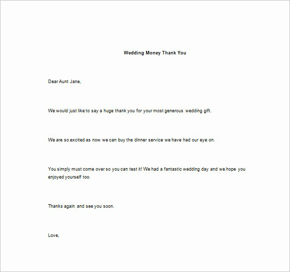 Wedding Thank You Note Template Inspirational Thank You Note for Money – 8 Free Word Excel Pdf format