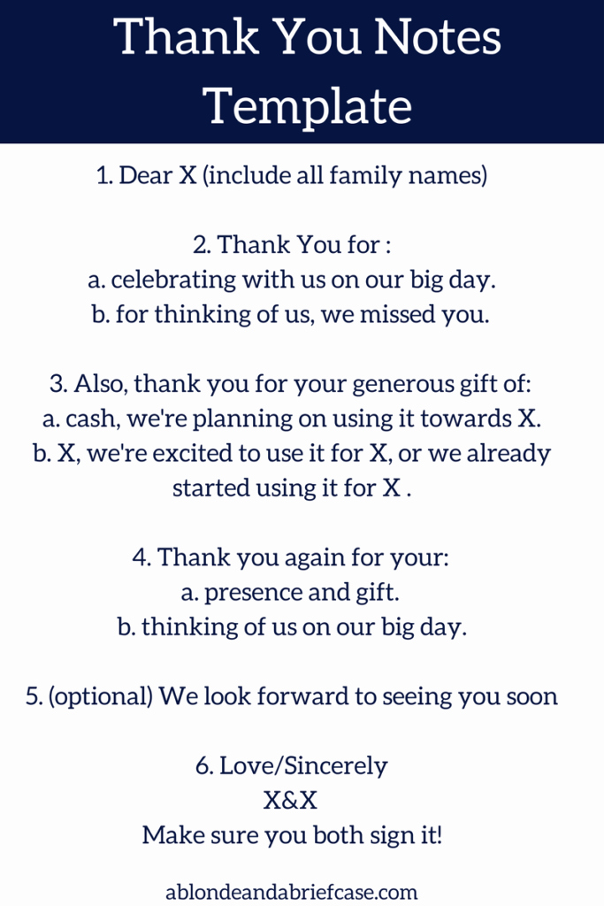 Wedding Thank You Note Template Lovely How to Write Your Wedding Thank You Notes
