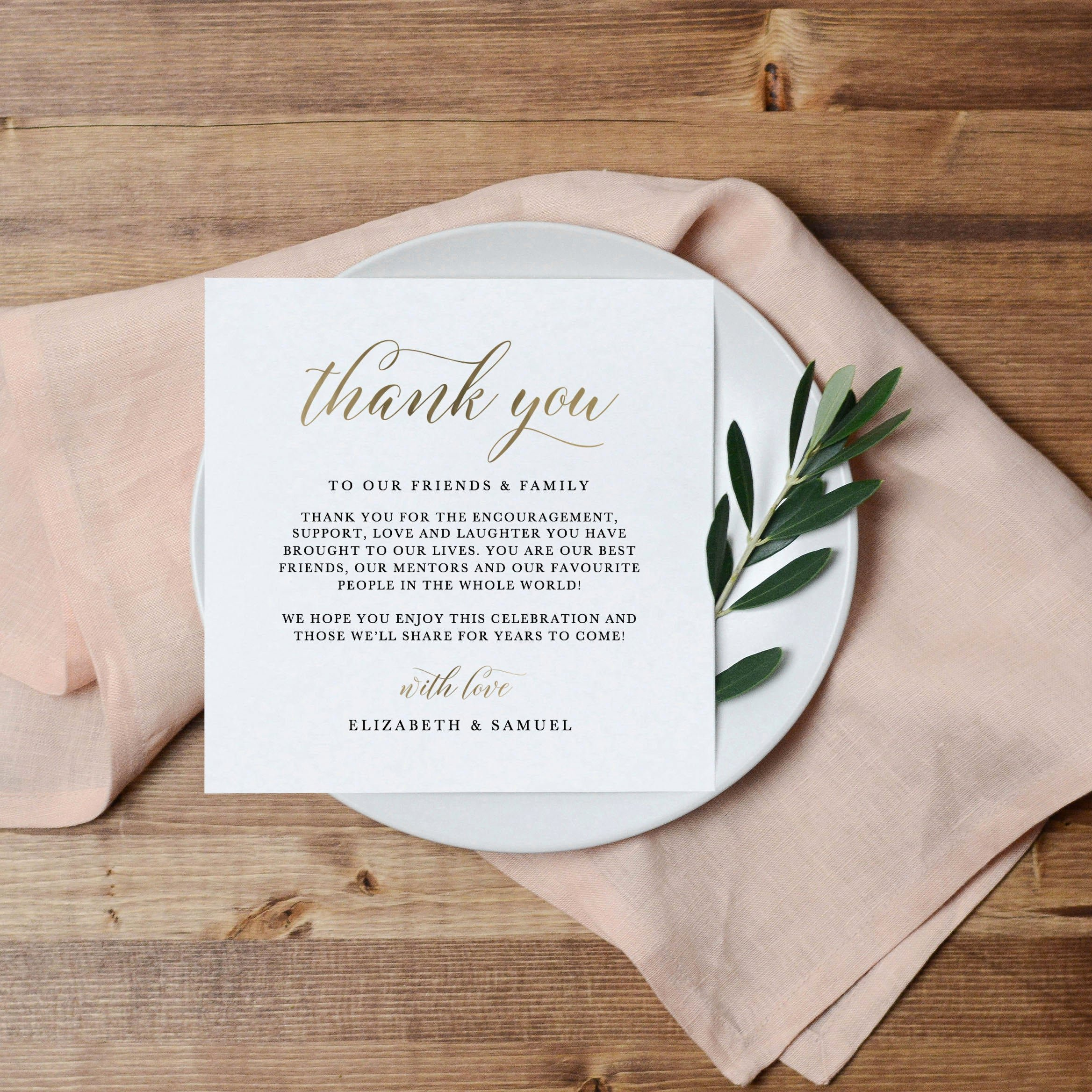 Wedding Thank You Note Template Luxury Printable Thank You Letter Template Wedding Table Thank You
