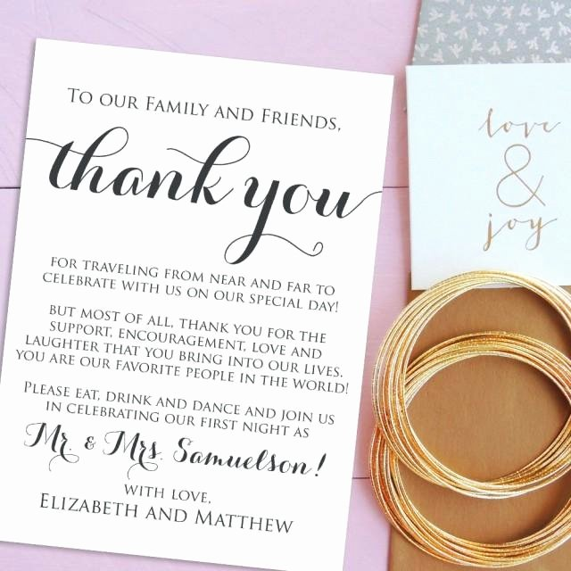 Wedding Thank You Note Template Luxury Wedding Thank You Cards Wel E Letter Printable Wedding