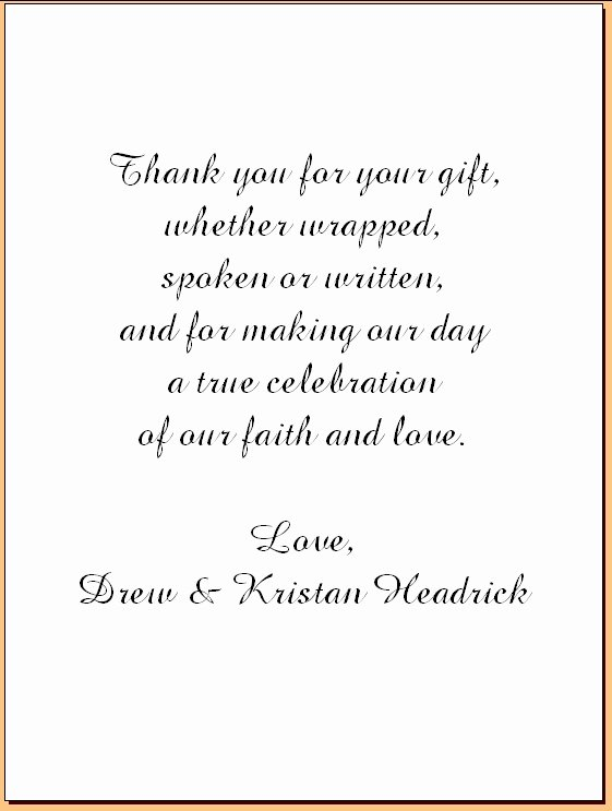 Wedding Thank You Note Template New Wedding Thank You Note Template 2018