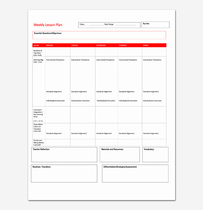 Weekly Lesson Plan Template Pdf Awesome Lesson Plan Template 5 Daily Weekly Monthly for Word