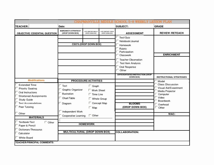 Weekly Lesson Plan Template Pdf Beautiful Blank Lesson Plan Template