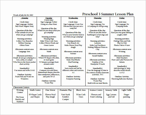 Weekly Lesson Plan Template Pdf Elegant Preschool Weekly Lesson Plan Template