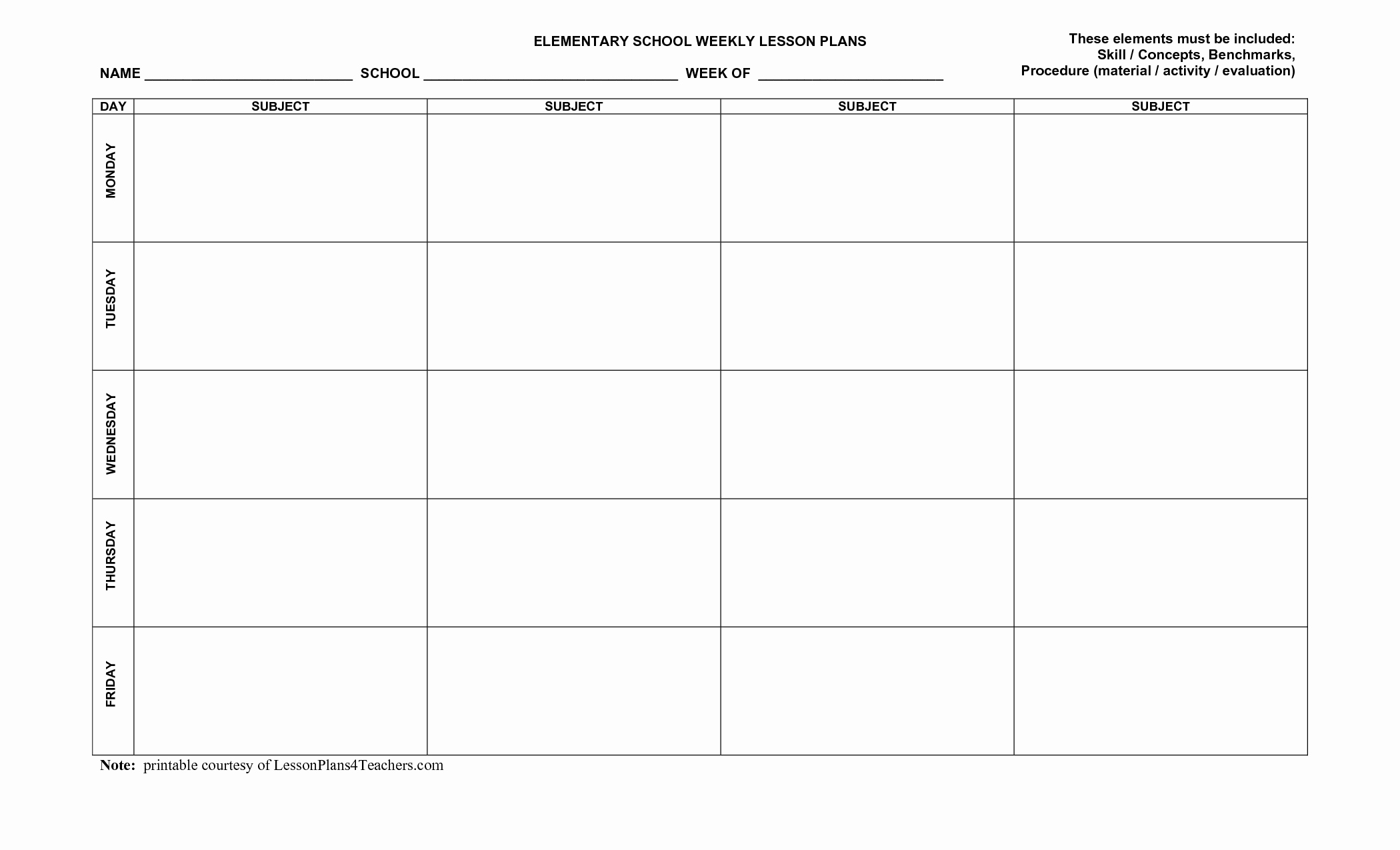 Weekly Lesson Plan Template Pdf Lovely Blank Weekly Lesson Plan Templates Mqfotfas