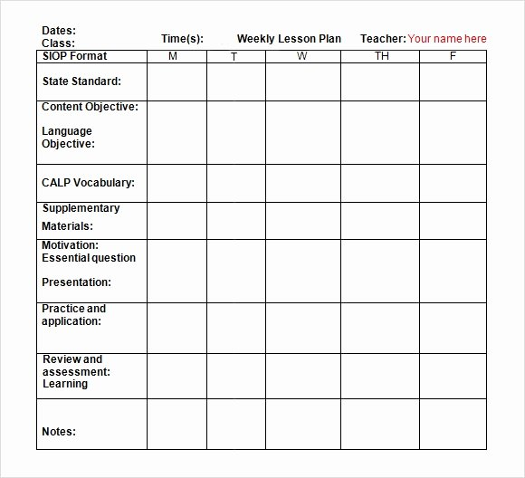 Weekly Lesson Plan Template Pdf New Lesson Plan Template Doc