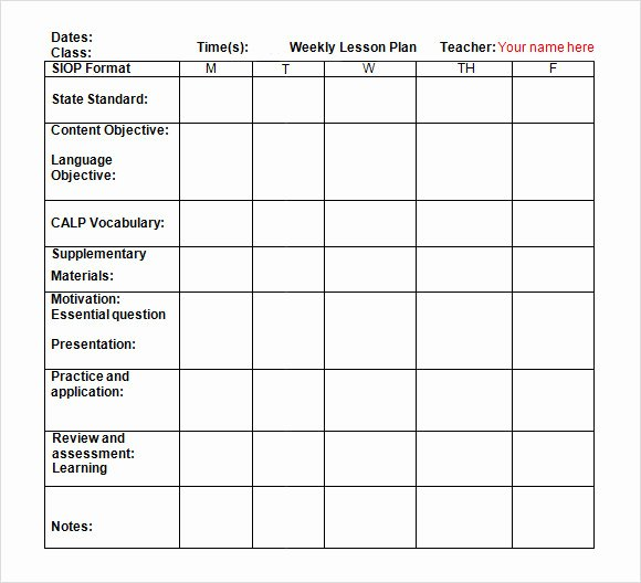 Weekly Lesson Plan Template Pdf New Sample Weekly Lesson Plan 8 Documents In Pdf Word