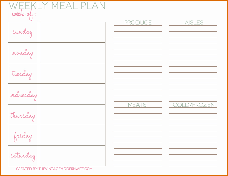 Weekly Meal Plan Template Awesome 5 Daily Meal Plan Template