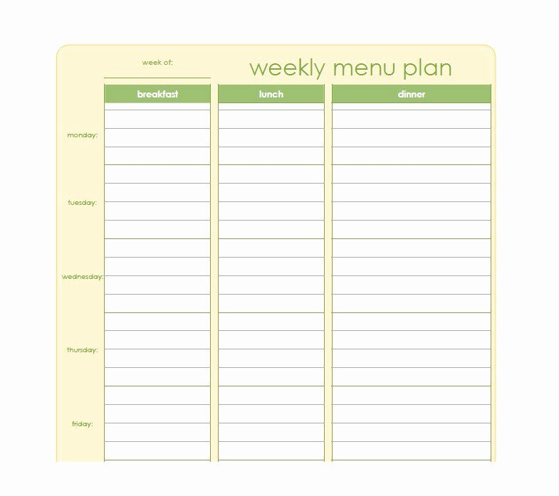 Weekly Meal Plan Template Beautiful 40 Weekly Meal Planning Templates Template Lab