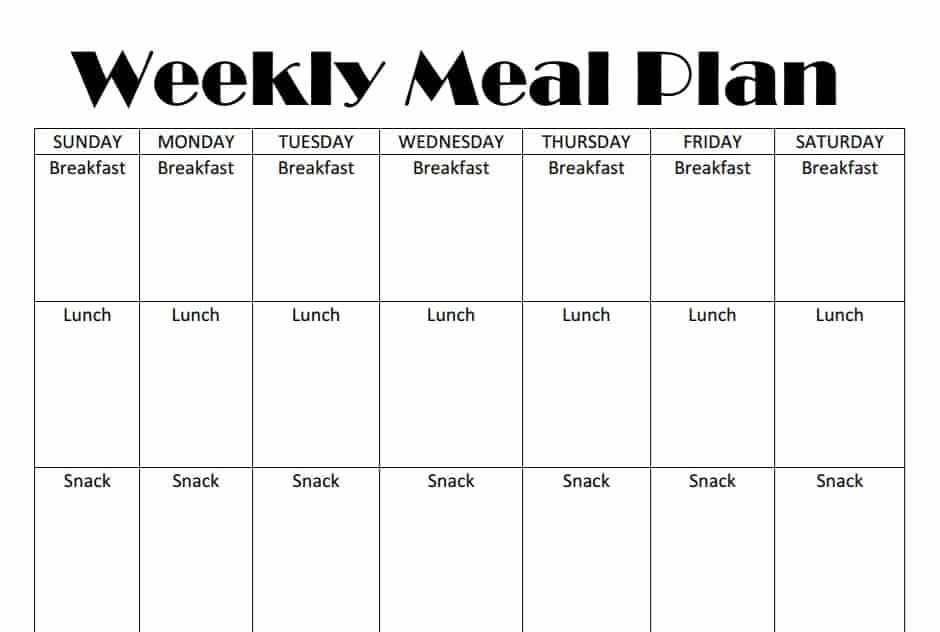 Weekly Meal Plan Template Elegant Printable Weekly Meal Plan Template