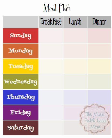 Weekly Meal Plan Template Fresh Free Weekly Meal Plan Printable Template More with Less Mom