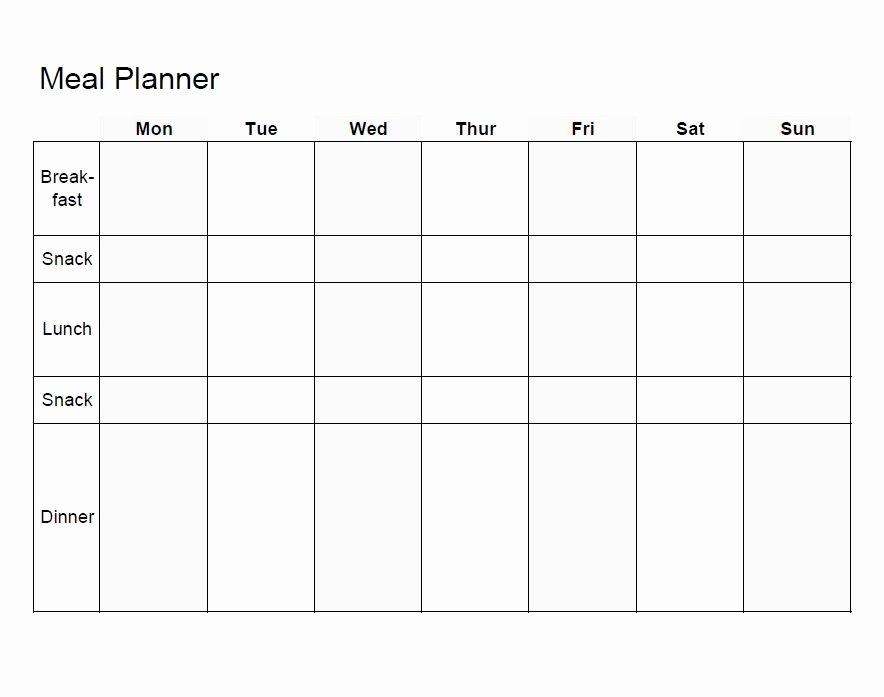 Weekly Meal Plan Template Fresh Meal Planning Template