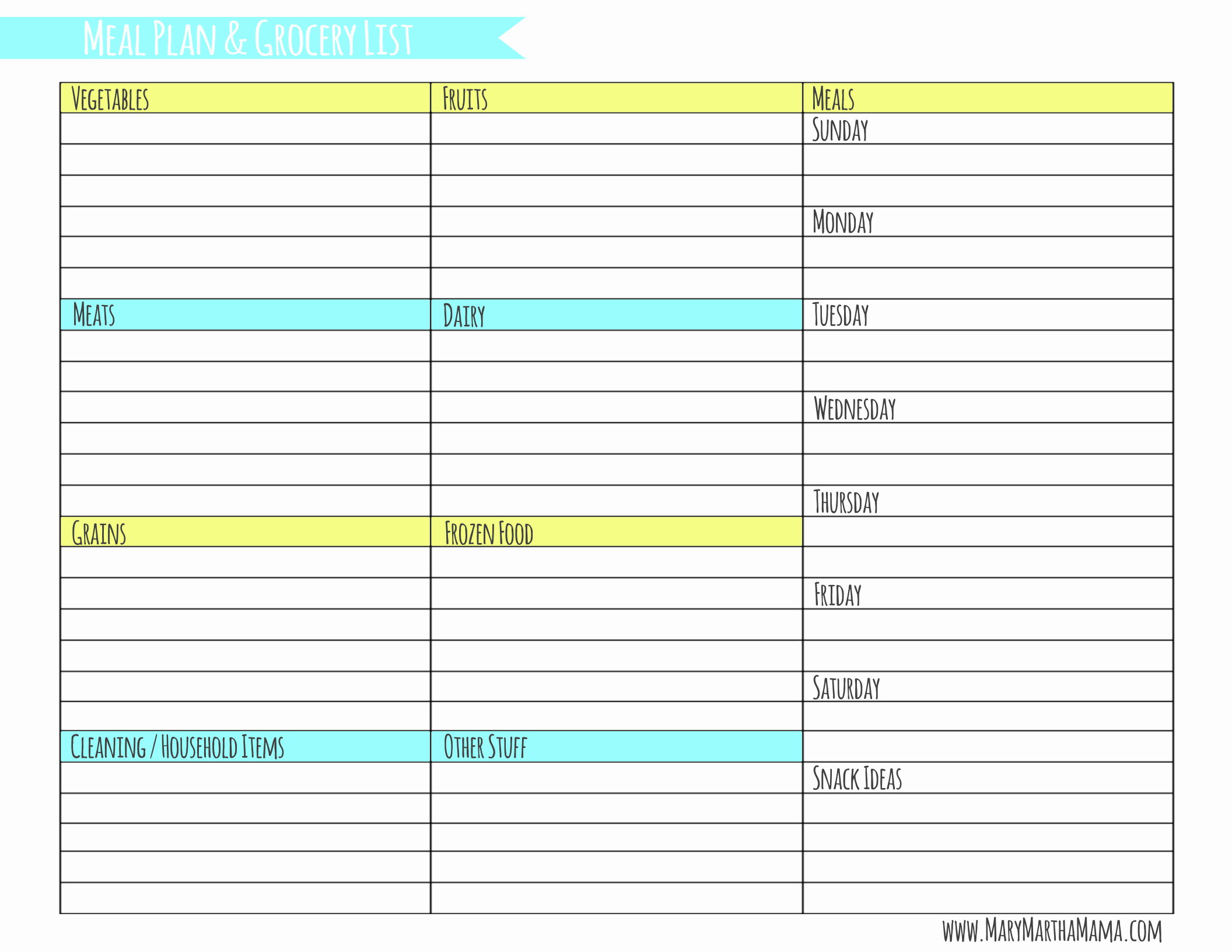 Weekly Meal Plan Template Fresh Weekly Meal Planner Template with Grocery List – Mary