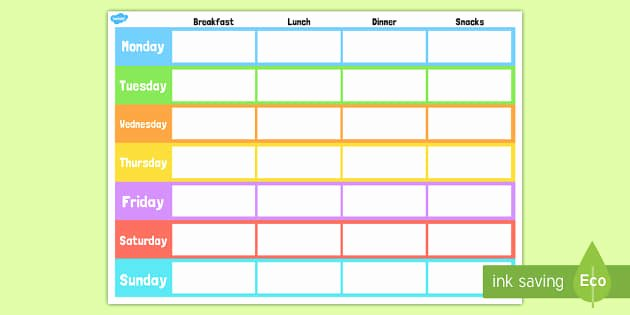 Weekly Meal Plan Template Unique Weekly Meal Planner Template Weekly Meal Planner Template