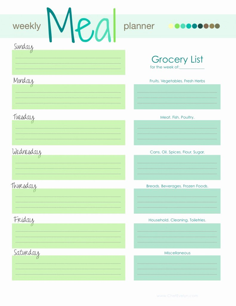 Weekly Meal Planning Template Awesome Weekly Menu Template