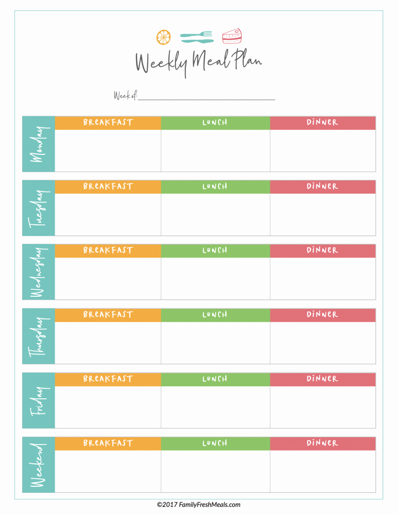 Weekly Meal Planning Template Beautiful Free Meal Plan Printables Family Fresh Meals