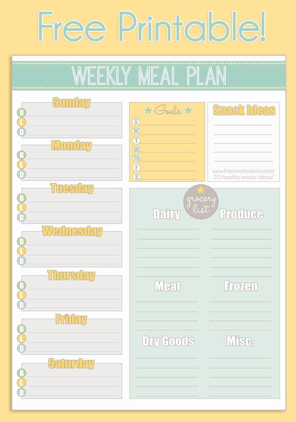 Weekly Meal Planning Template Fresh Free Printable Weekly Meal Planner Calendar
