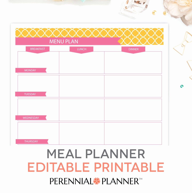 Weekly Meal Planning Template Fresh Menu Plan Weekly Meal Planning Template Printable Editable
