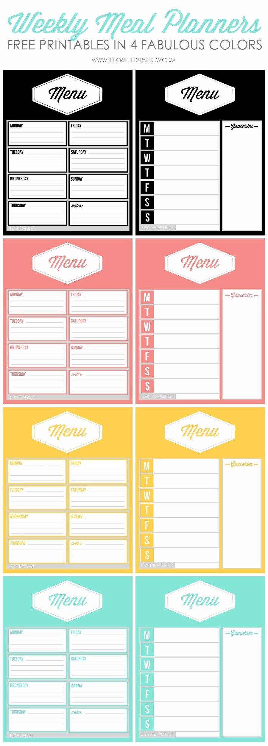 Weekly Meal Planning Template Inspirational Free Printable Weekly Meal Planners