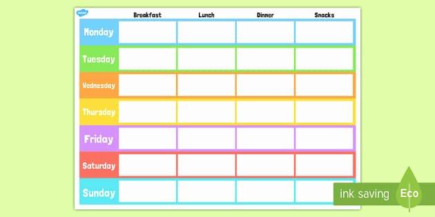 Weekly Meal Planning Template Luxury Weekly Meal Planner Template Weekly Meal Planner Template