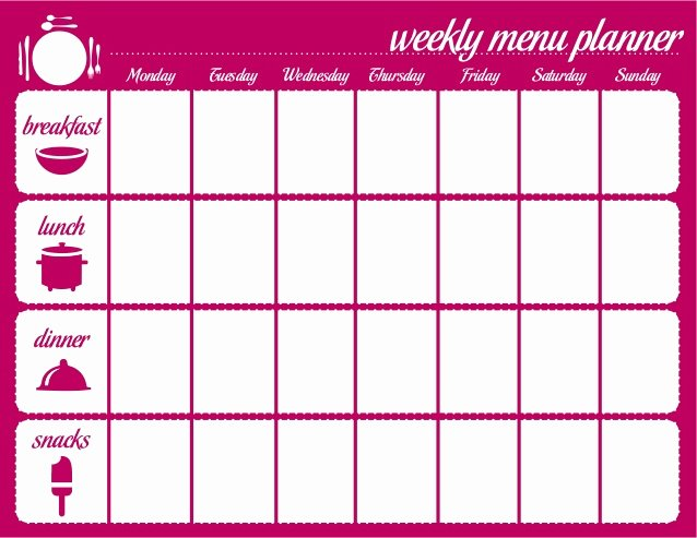 Weekly Meal Planning Template New Weekly Menu Template