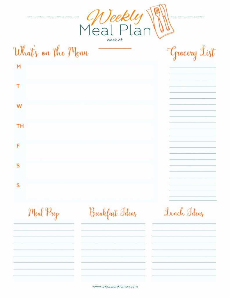 Weekly Meal Planning Template Unique Weekly Menu Planner Lexi S Clean Kitchen