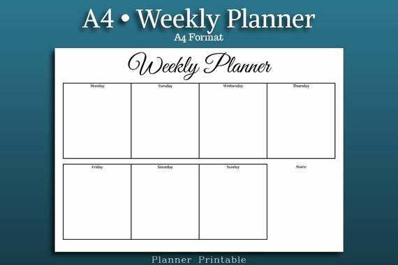 Weekly Planner Template Pdf New Weekly Planner Template A4 Size Printable Pdf A4 Weekly