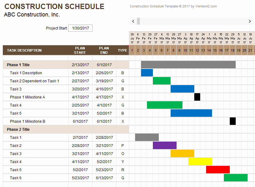 Weekly Schedule Templates Excel Awesome Construction Schedule Template