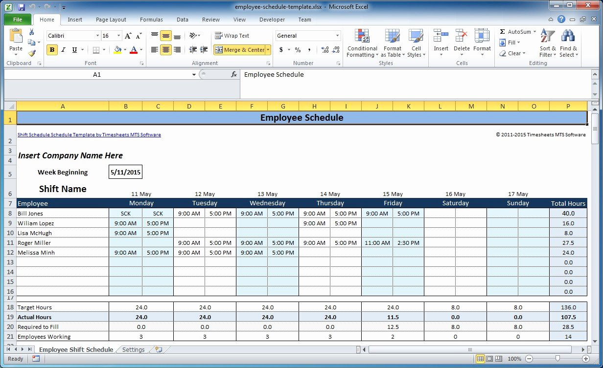 Weekly Schedule Templates Excel Awesome Free Employee and Shift Schedule Templates