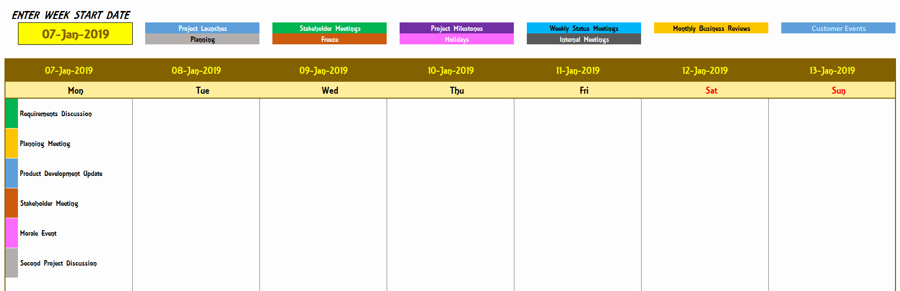 Weekly Schedule Templates Excel Beautiful Excel Calendar Template Excel Calendar 2019 2020 or Any