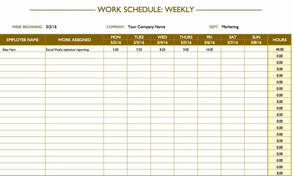Weekly Schedule Templates Excel Beautiful Free Work Schedule Templates for Word and Excel