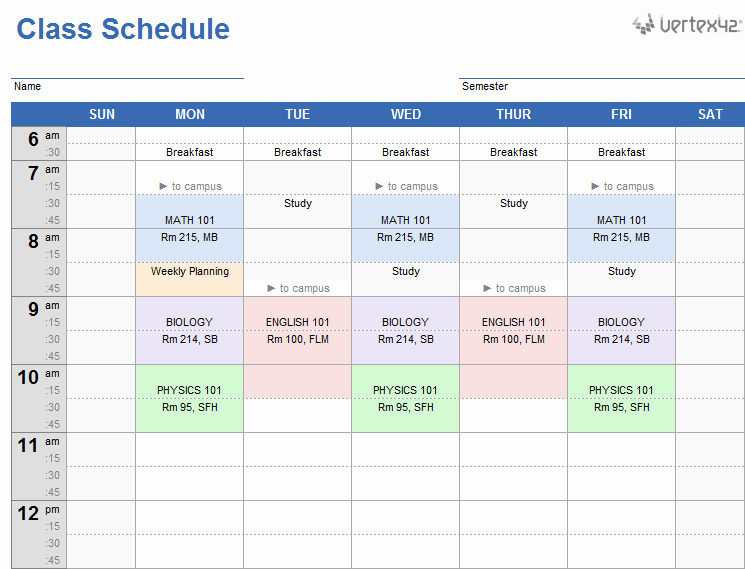 Weekly Schedule Templates Excel Beautiful Weekly Class Schedule Template for Excel
