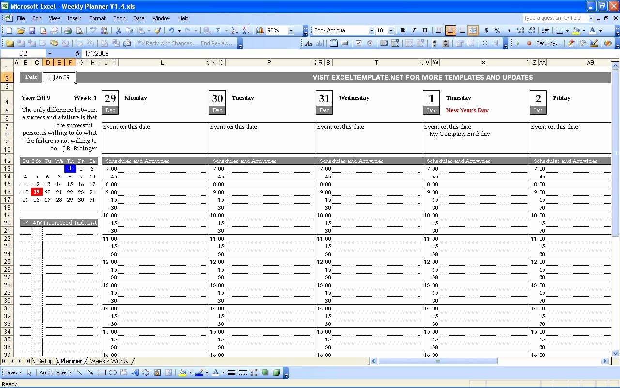Weekly Schedule Templates Excel Elegant Weekly Planner