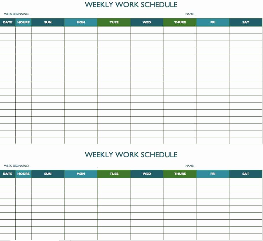Weekly Schedule Templates Excel Fresh Free Weekly Schedule Templates for Excel Smartsheet