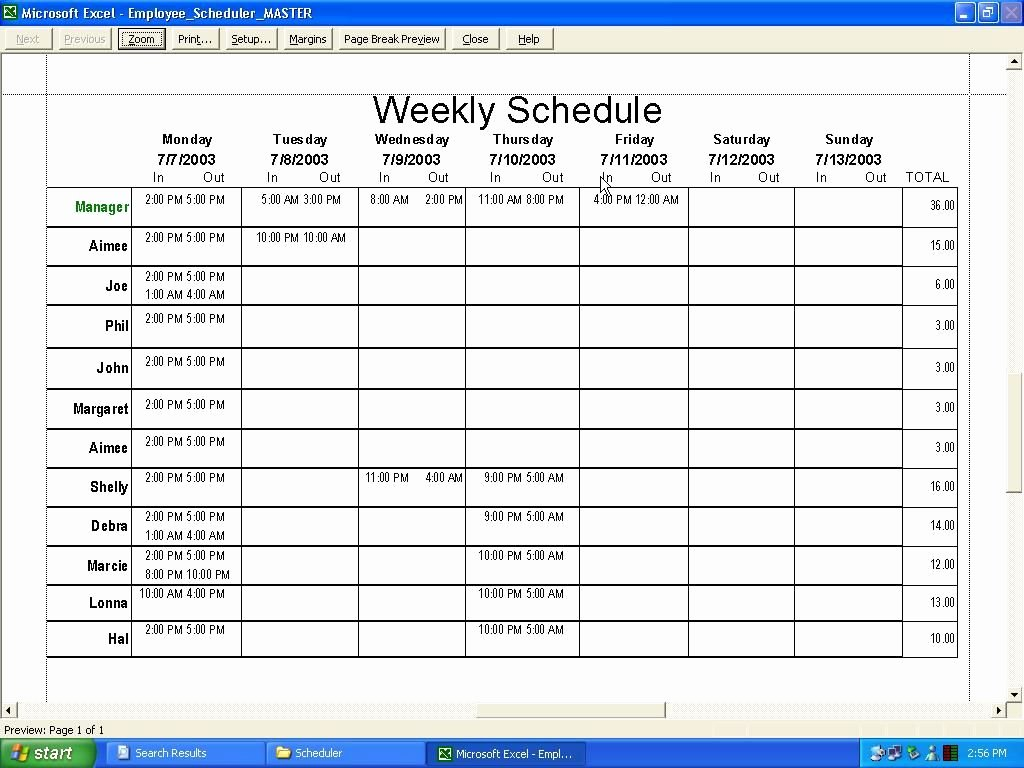 Weekly Schedule Templates Excel Inspirational Weekly Employee Schedule Template Excel