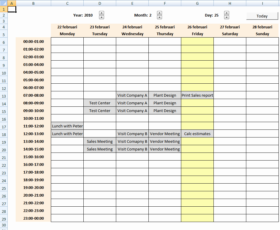 Weekly Schedule Templates Excel Lovely Calendar with Scheduling [vba]