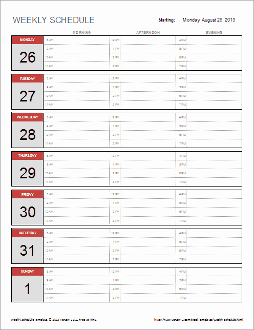 Weekly Schedule Templates Excel Lovely Weekly Schedule Templates for Excel and Pdf