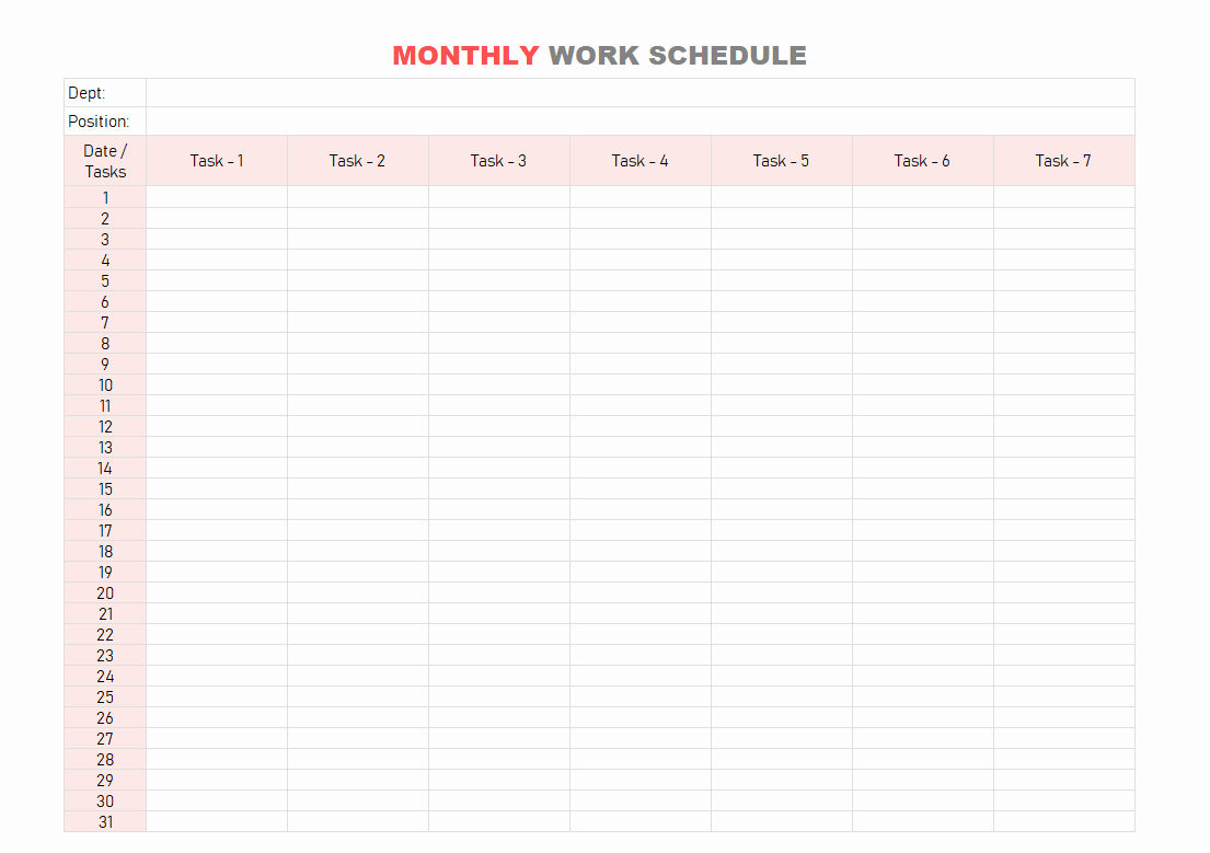Weekly Schedule Templates Excel Lovely Work Schedule Template Daily Weekly