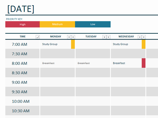 Weekly Schedule Templates Excel New Weekly College Schedule Microsoft 365