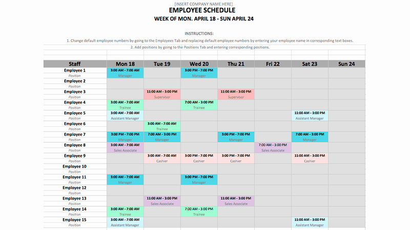 Weekly Schedule Templates Excel Unique Employee Schedule Template In Excel and Word format